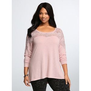 Torrid Pink Lace Illusion Top Size 4 (4X)